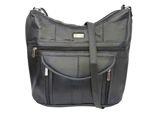 b48da57c65 Borsa a Mano con Tracolla da Donna Nera – 7 Tasche – 2 Scomparti con Zip