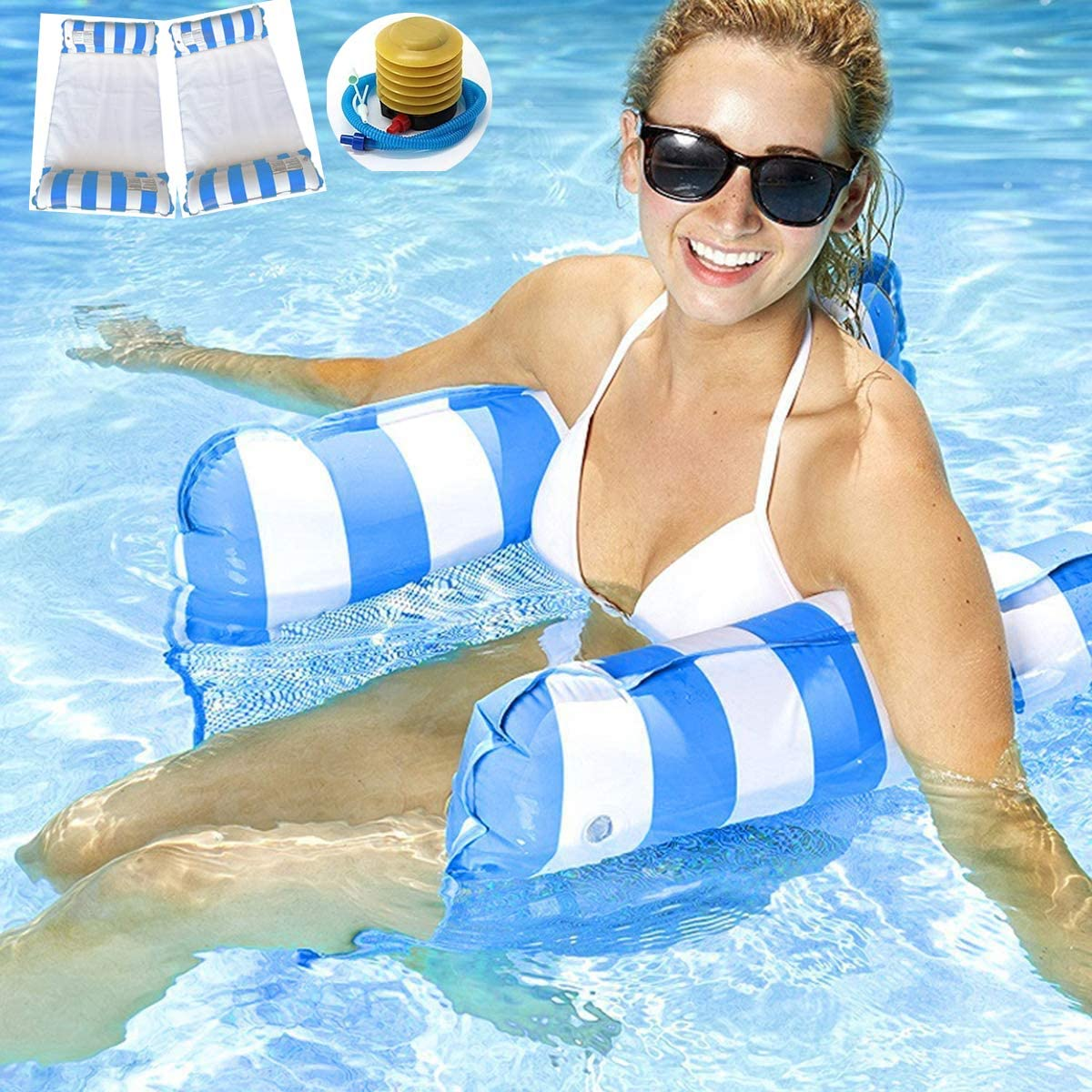 2 Pack Water Hammock Float 4-in-1 Inflatable Pool Floats for Adults Kids Swimming Floats Hammock Lounger Inflatable Raft with Air Pump