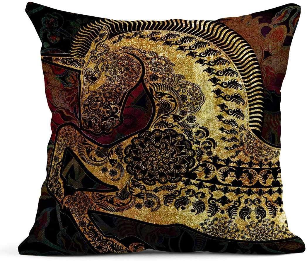 Kinhevao Almohada de Tiro Avatar Perfil Dorado Unicornio con Cabeza de Dibujo Estampada Etiqueta de Caballo Cojín de Lino Almohada Decorativa para el hogar