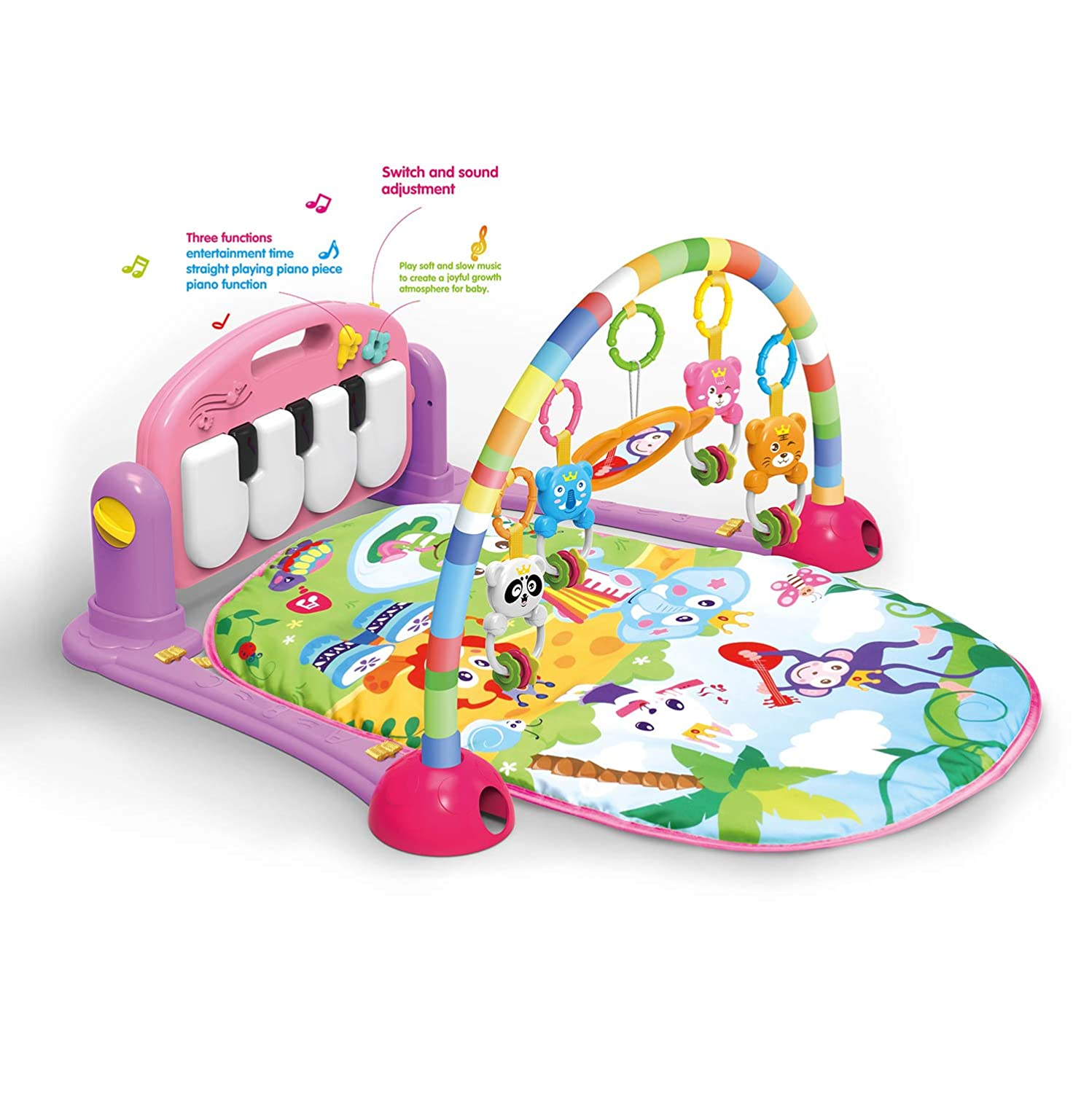 4 in 1 Kick and Play Piano Gym,Girls Baby Gym Playmat Musical Activity Playmat, Soft Toys, Rattle, Light & Sound Playmat Discovery Carpet for Infants Toddlers Newborn Kick and Playmat 0-36 Months(PINK COLOR) Tech Traders