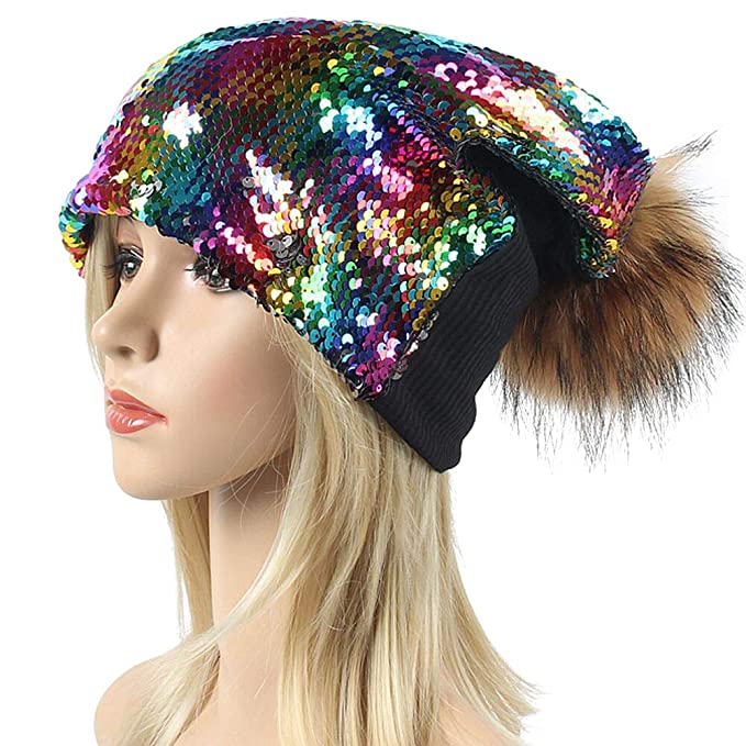 BLUBOON Sequin Pom Beanie Hats Women Girls Ugly Christmas Sweater Holiday  Caps for Concert Parties ( 793d2bd1aa6