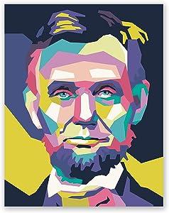 Abraham Lincoln Poster - Pop Art Portrait Print – Home Office Wall Decor (11x14)