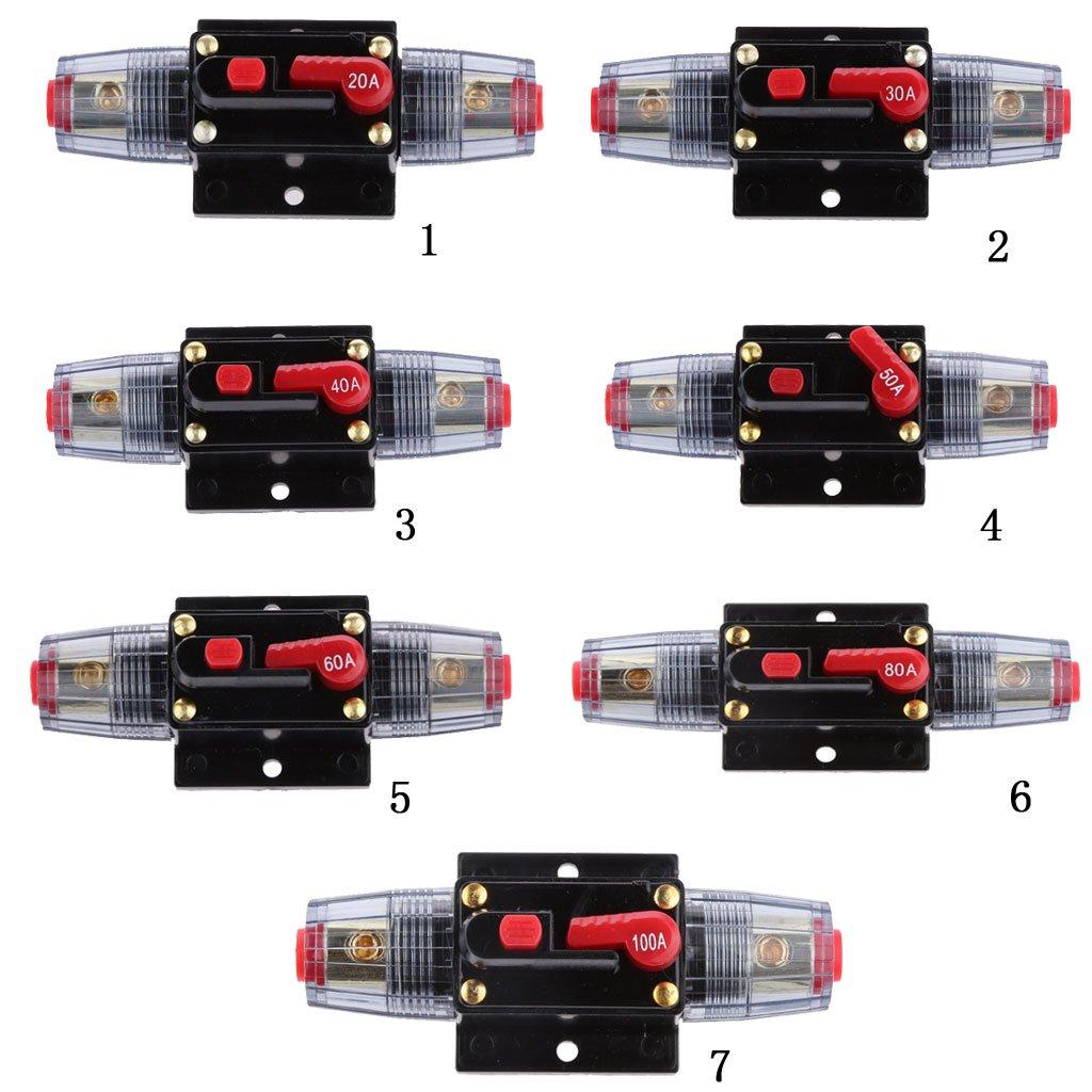 gazechimp Interruttore Automatico Autotest da 12 V 20A-300 Amp Ripristino Manuale Car Audio Stereo per Auto Porta Fusibile Protezione Dellalimentazione 60a