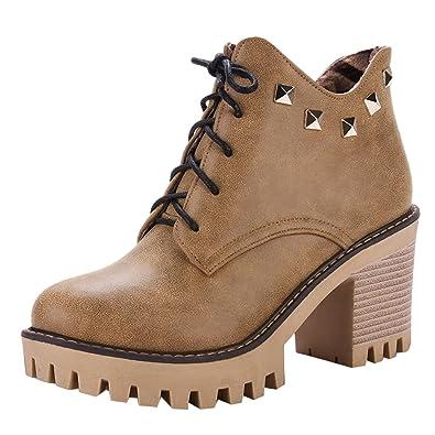 a37ba83a68 Amazon.com | Show Shine Women's Lace Up Rivets High Heel Platform Western  Boots | Ankle & Bootie