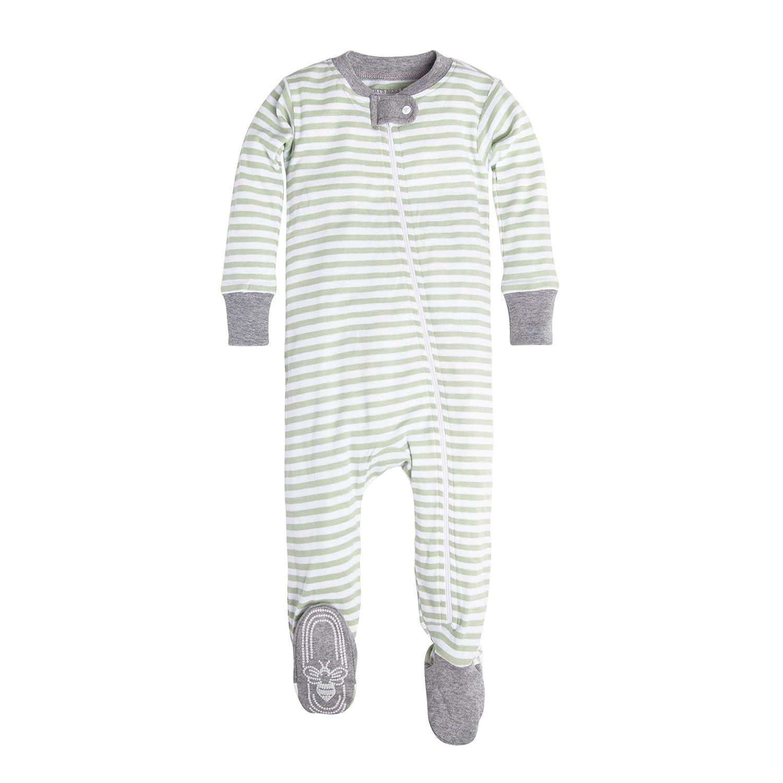 Burt's Bees Baby Girls' Organic Stripe Zip Front Non-Slip Footed Sleeper Pajamas, Burt' s Bees Baby LY24681-CBR-NB