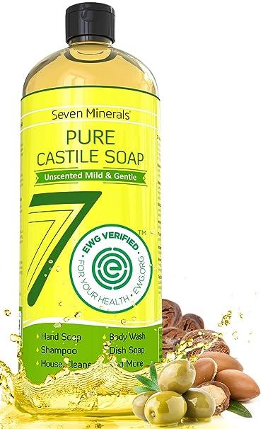 EWG Verified Castile Soap (No Palm Oil & GMO-Free) - Unscented Mild & Gentle Liquid Soap For Sensitive Skin