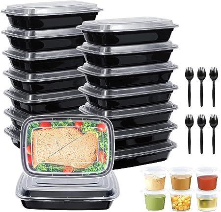 Gifort 【16PACK】 Recipientes para preparación de Comidas de con Tapas, Fiambrera Reutilizable sin BPA, Compatible con microondas/lavavajillas/congelador, apilable + 6 Tazas de Salsa y 6 cucharas