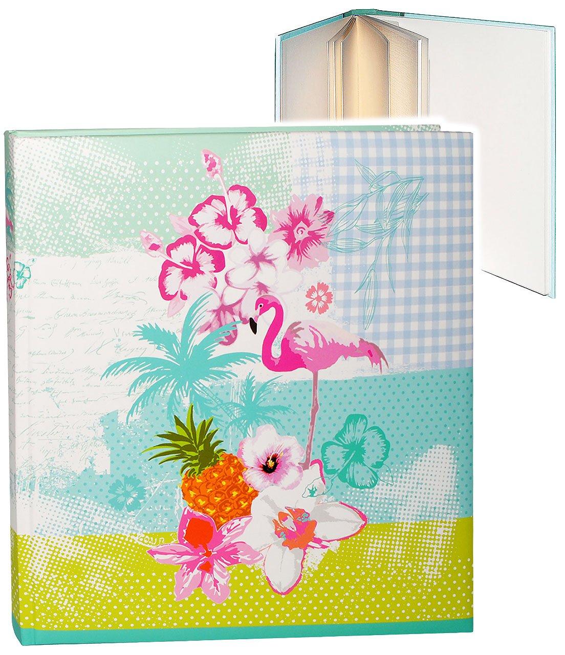 alles-meine.de GmbH XL Fotoalbum - Flamingo & Hibiskus Blume - Hawaii - Incl. Name - Gebunden ..