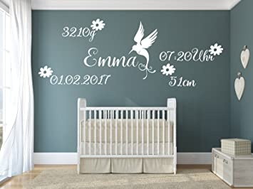 tjapalo® pk211 Wandtattoo Kinderzimmer Baby Name Wandtattoo Baby jungen  Geburtsdatum Wandsticker Mädchen mit Geburtstaden und Namen (Breite ...