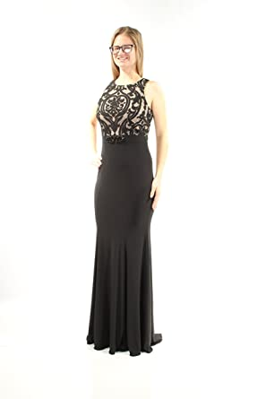 Xscape Womens Embellished Lace Ball Gown Dress Black 10