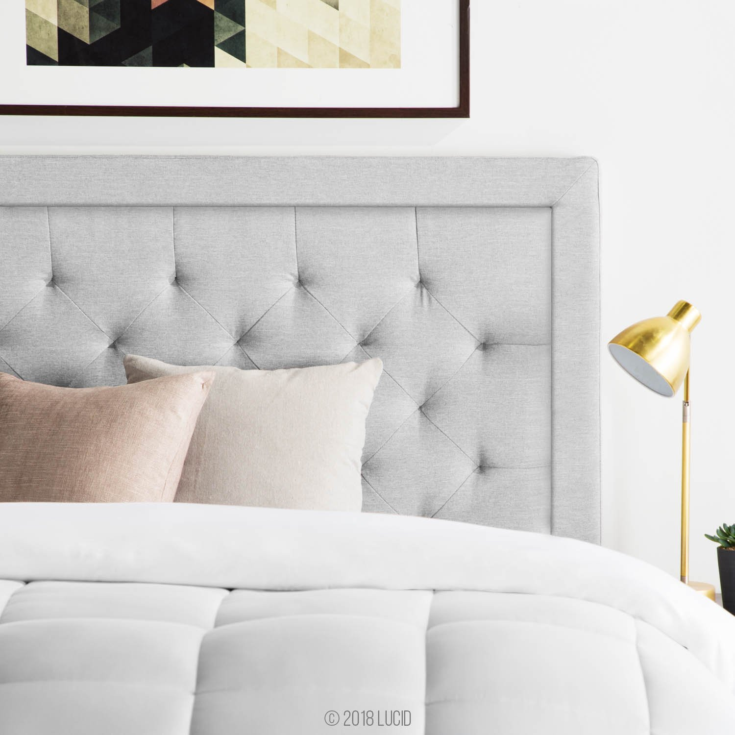 LUCID LUQQREDTSTHB Bordered Upholstered Headboard with Diamond Tufting, Queen, Stone