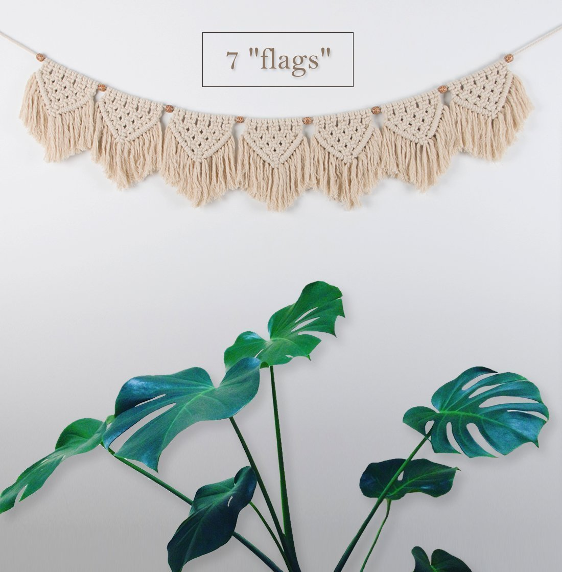 TIMEYARD Macrame Woven Wall Hanging Fringe Garland Banner - Boho Chic Bohemian Wall Decor - Apartment Dorm Living Room Bedroom Decorative Wall Art, 9'' W x45 L, 7'' Flags by TIMEYARD