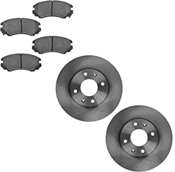 Ceramic Brake Pads For 2005 Hyundai Sonata Front Rear eLine Plain Brake Rotors