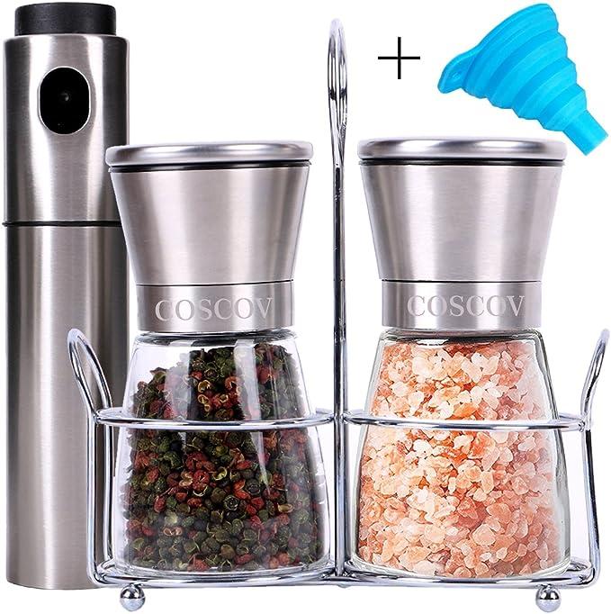 coscov sal y pimienta Grinder Set con soporte a juego y aceite de ...