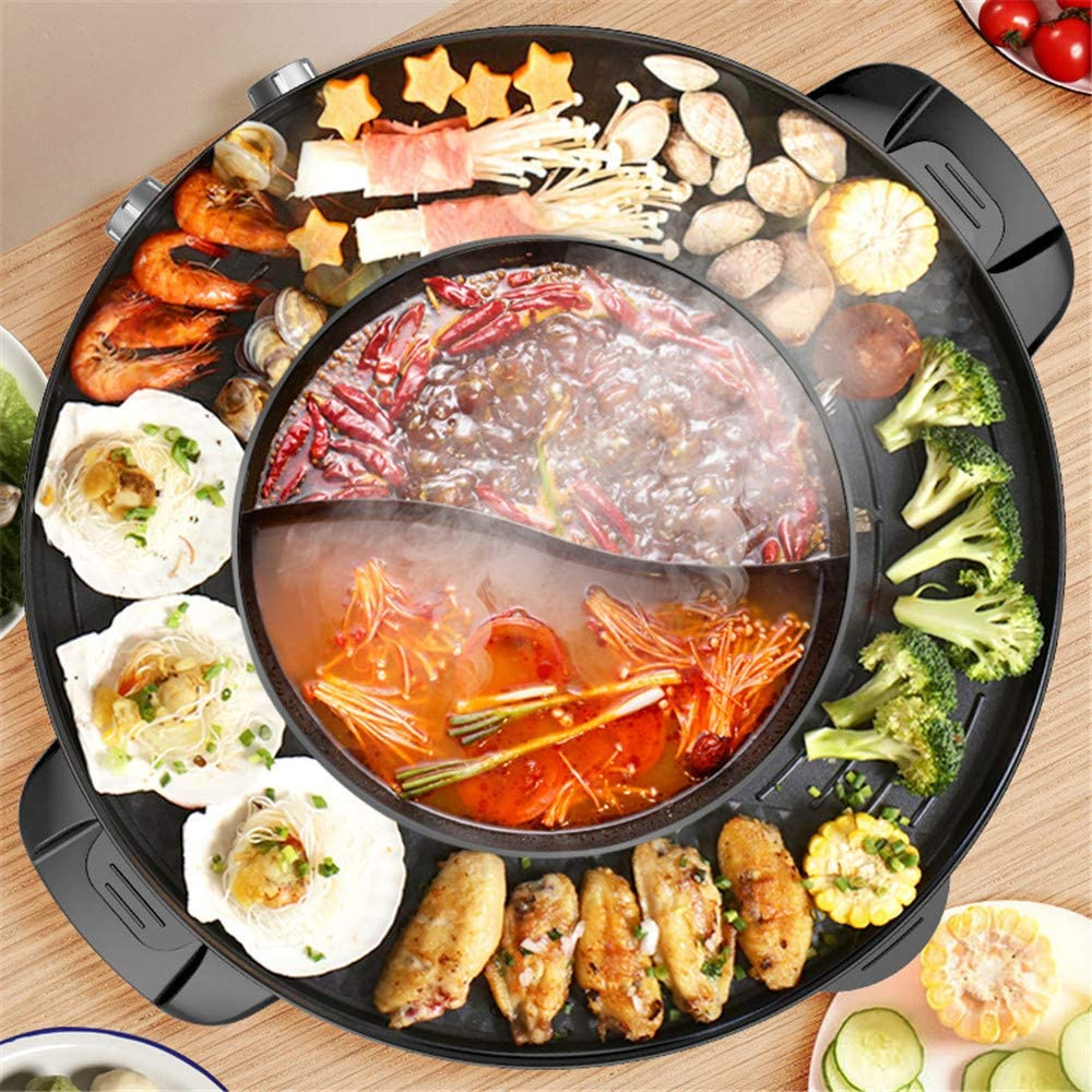2200W 2 in 1 Electric Smokeless Grill and Hot Pot 110V Split Easy Cleaning Dual Temperature Control