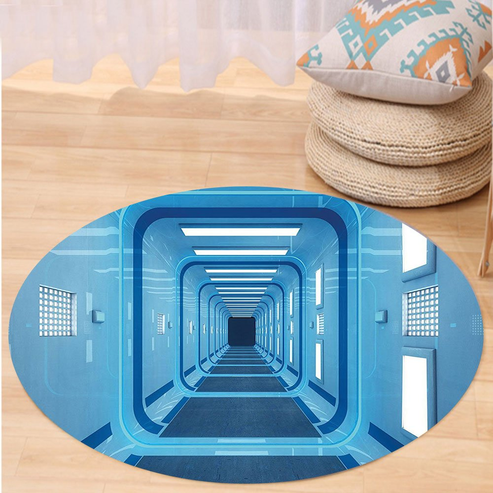 Niasjnfu Chen Custom carpetOuter Space Decor Square Shaped Trippy Gate in Space Shuttle Exit and Enter Destination for Bedroom Living Room Dorm Light Blue