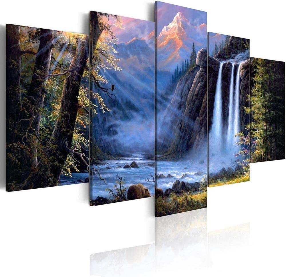Waterfall Landscape Print Painting Canvas Home Wall Art Picture Living Room Deco