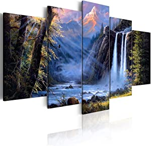 yj_art Landscape Wall Art Home Decor Painting On Canvas Prints Blue Waterfall Pictures for Living Room Bedroom Decoration Framed Ready to Hang (Overall 60''W x 30''H)