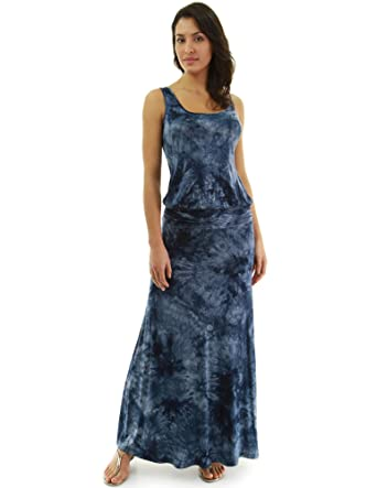 89ea5bda987 PattyBoutik Women Sleeveless Blouson Maxi Dress (Slate Blue and Navy Blue  32 X-Small
