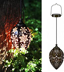 KOOPER Solar Lights Outdoor Decorative, Solar Lanterns Outdoor Hanging with Hollowed Pattern Metal Lamp Wireless Waterproof Decorative for Porch Garden Patio Backyard Pathway