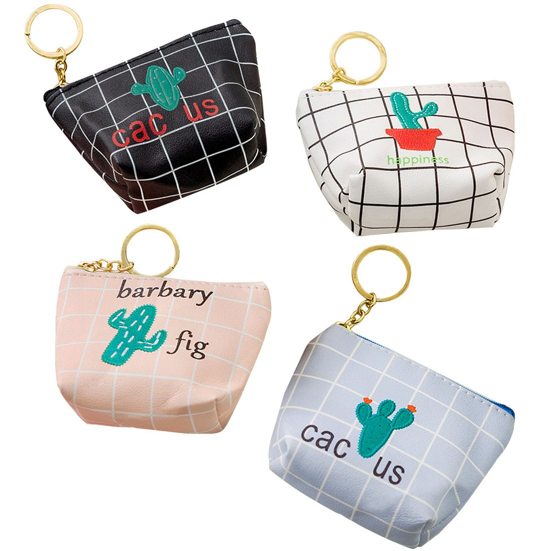 Oyachic 4 pcs Coin Purse Zipper Change Pouch Mini Wallet Gift for Women and Girls