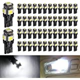Boodled 50-Pack 194 White LED Black Body Light 12V,120LM 6000k Car Interior and Exterior T10 5SMD 5050 Chips Replacement For W5W 168 2825 Map Dome Courtesy License Plate Dashboard Side Marker Light