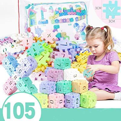 105 Pieces Baby Children Multicolor Educational Assembly Bricky Rainbow Building Blocks Set Toys Activity Play Centers: Toys & Games