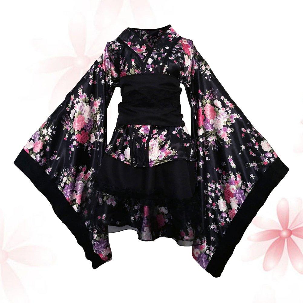 FENICAL Frauen Kirschbl/üten Anime Cosplay Lolita Kleid Japanischen Kimono Kost/üm Kleider Kleidung Halloween Kost/üm Gr/ö/ße XL Schwarz