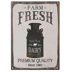 SIGNT Farm Fresh Dairy Milk Cream Butter Retro Vintage Metal Tin Sign Country Home Bar Wall Decor Art Poster 12X8 Inch