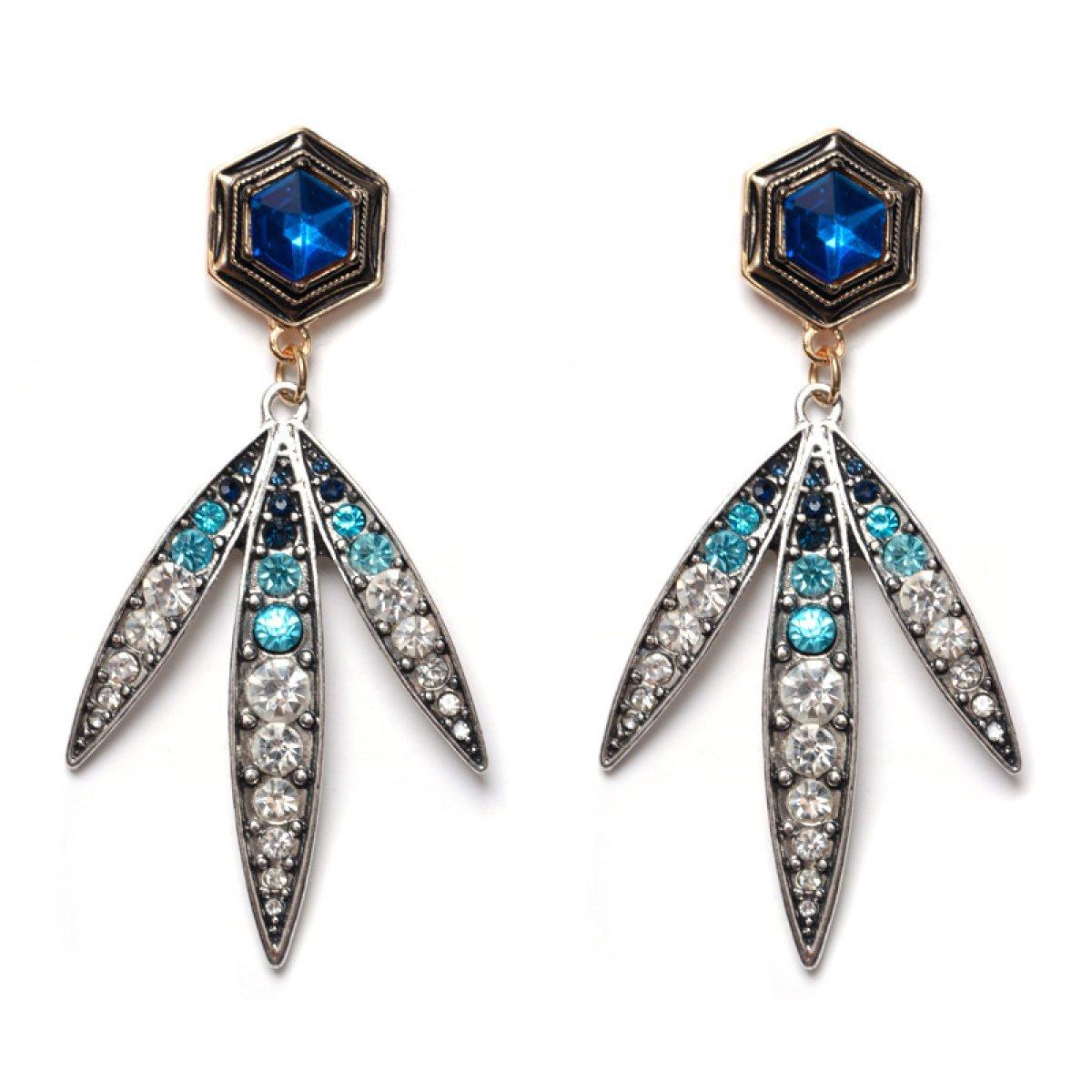 Europe And The United States Alloy Rhinestones Earrings Pendants Ladies Leaves
