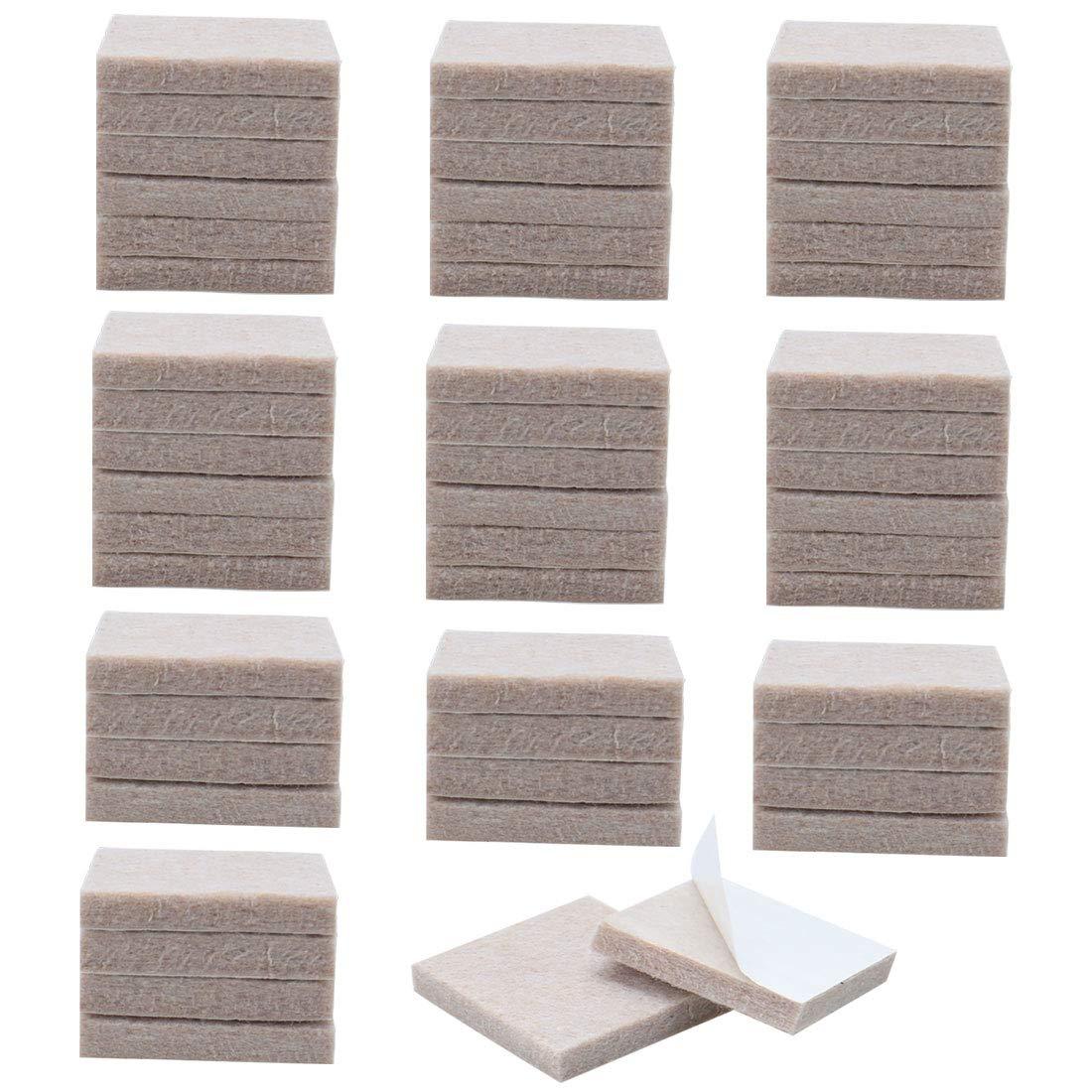 uxcell 100pcs Furniture Pads Round 7/8' Self-stick Non-slip Anti-scratch Felt Pads Cabinet Floors Protector Beige