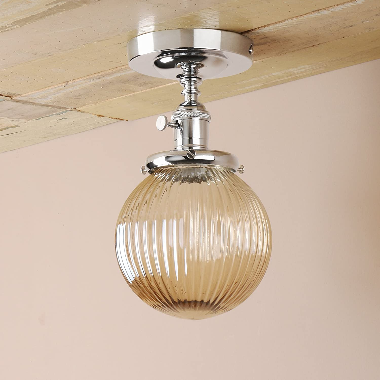Pathson industrial vintage modern pendant lights flush mount edison ceiling light loft bar kitchen island light fixture fittings chandelier with amber