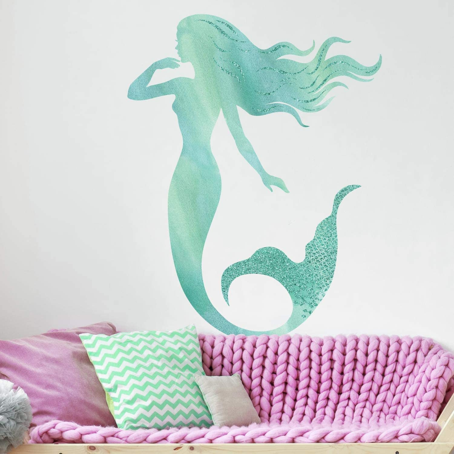 RoomMates Glitter Mermaid Peel and Stick Giant Wall Decals,Blue, Aqua, Teal