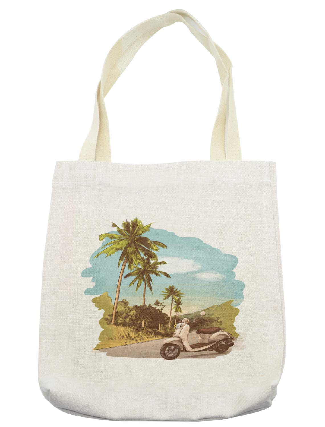 Ambesonne Retro Tote Bag, Faded Effect Vintage Scooter Stands on the Road Jungle with Palm Trees on the Edges, Cloth Linen Reusable Bag for Shopping Books Beach and More, 16.5'' X 14'', Cream by Ambesonne