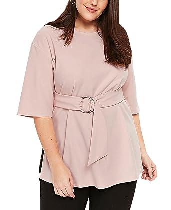 0058077e94f90d Anloli Women Plus Size Casual Short Sleeve Peplum Tops with D Ring Belt XXX-Large  Size Apricot: Amazon.co.uk: Clothing