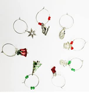 8 christmas xmas wine glasses charms ring marker earing hoops bar table party decoration gift secret - Christmas Wine Charms