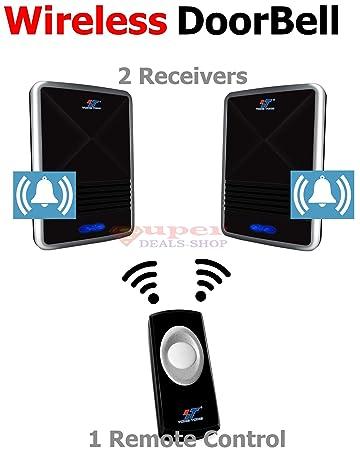 2 Receivers Wireless Doorbell Digital Wireless Doorbell Door Chime Remote  Control Doorbell With 25 Chimes Super