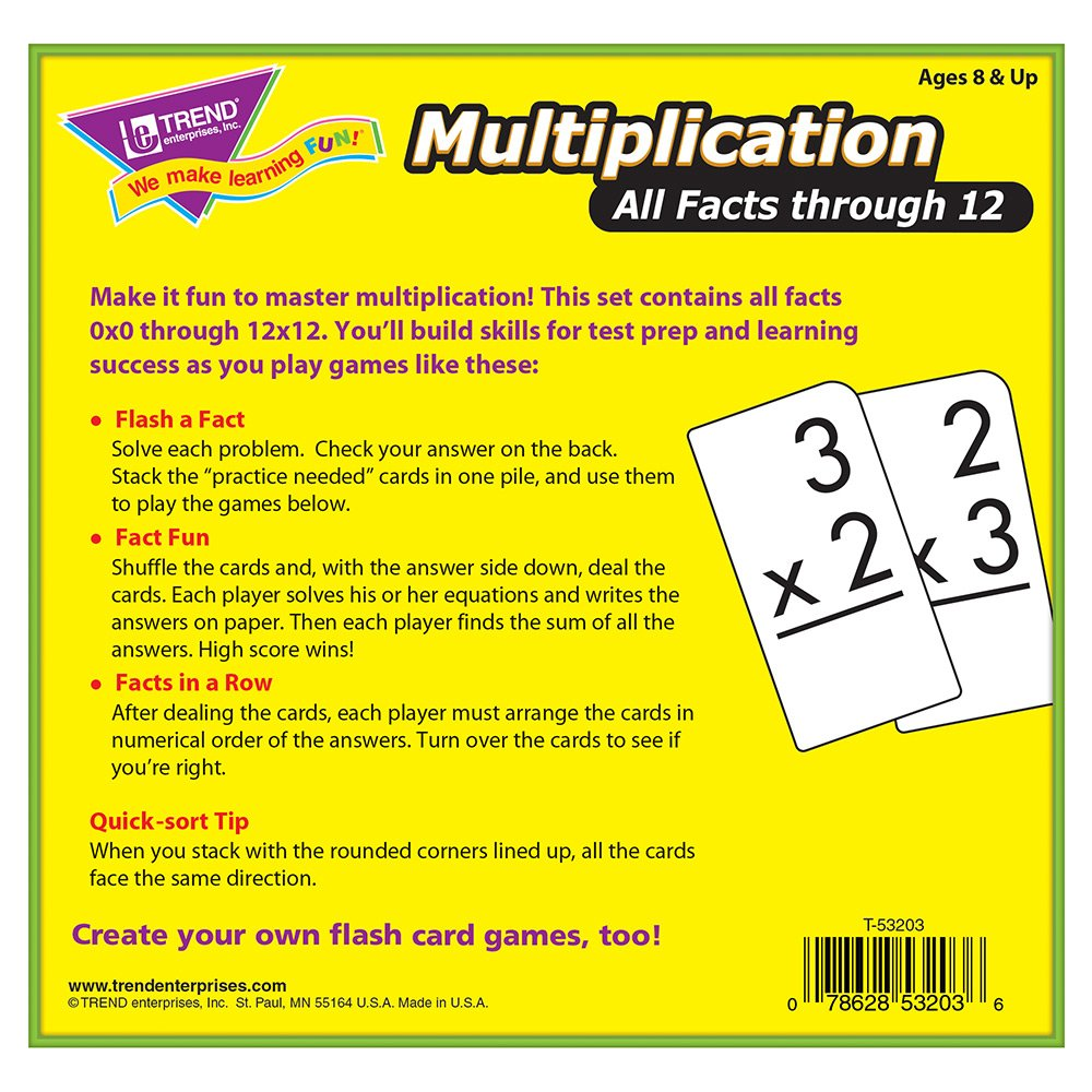Worksheet Multiplication Flash Cards 0-12 amazon com trend enterprises multiplication 0 12 flash cards all facts toys games
