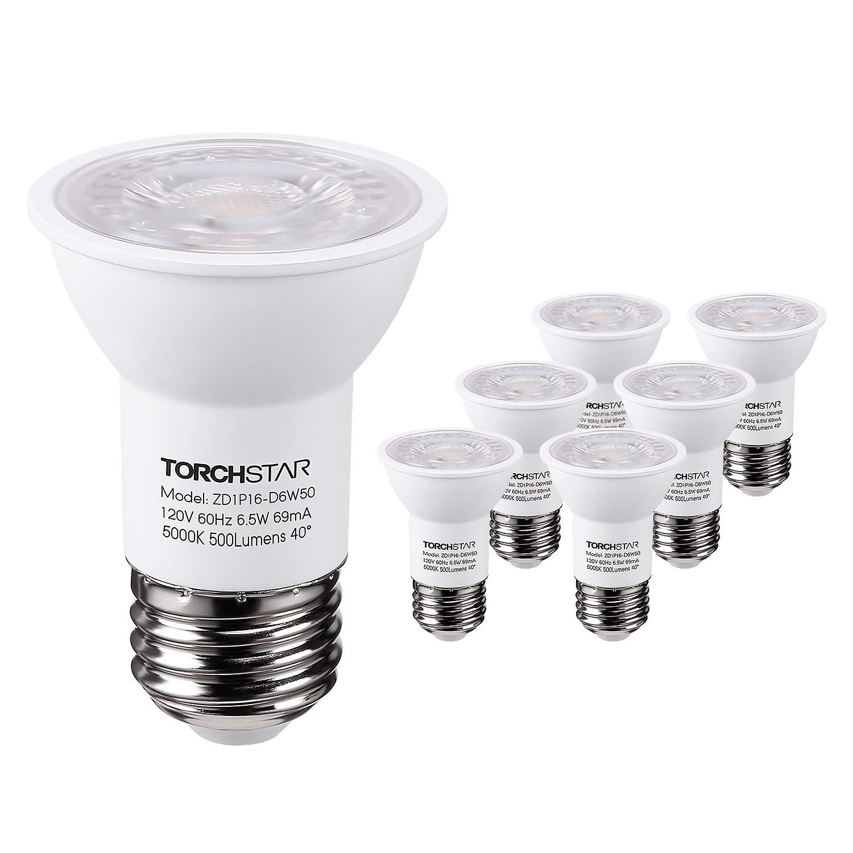 TORCHSTAR PAR16 DimmableLED SpotLight Bulb, 6.5W (50W Halogen Equivalent), 500lm, 40°BeamAngle,UL & ENERGY STAR Listed Spotlight, 5000K Daylight, E26 Medium Base, 5 YEARS WARRANTY, Pack of 6