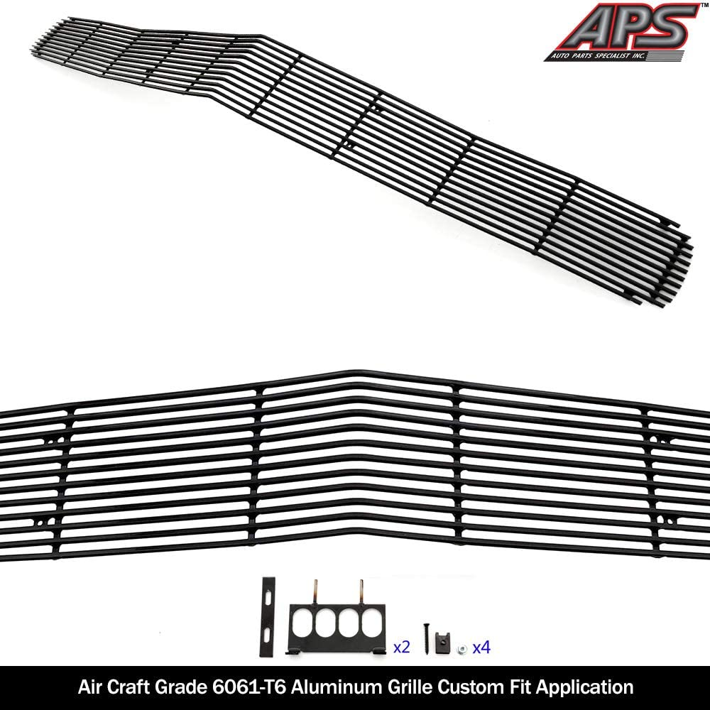 APS Compatible with 2009-2014 Dodge Challenger Phantom Black Billet Grille Insert N19-H98956D