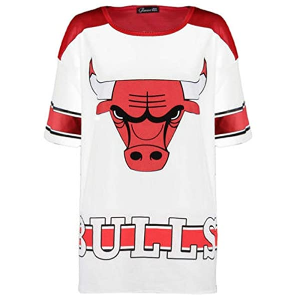 BusyBug Da donna in cotone Chicago Bulls larghi da baseball top t-shirt  White 50 788874bbc220