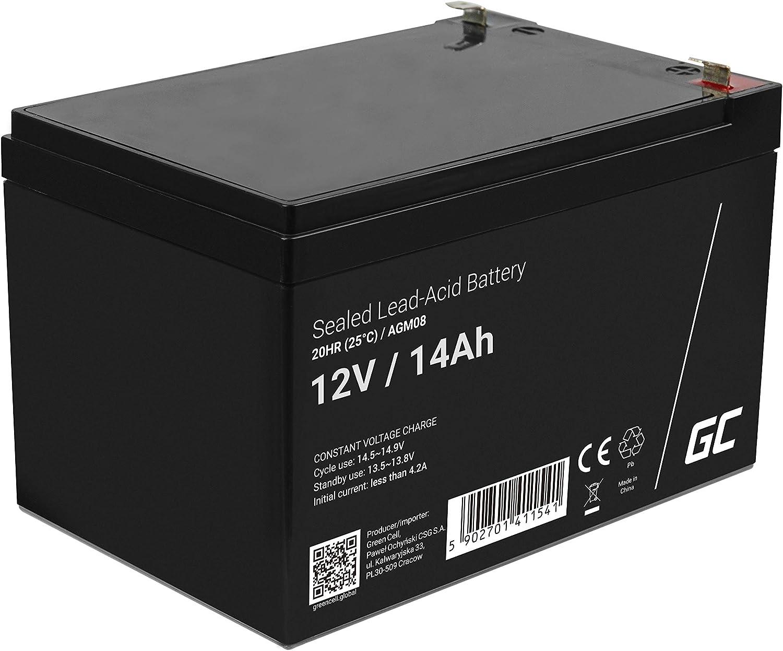Green Cell Recambio de Batería Gel AGM 12V 14Ah Rechargeable Pila Sellada de Plomo ácido batería sin Mantenimiento Batería de Reemplazo para Carro de Golf Montacargas Moto eléctrica Silla de Ruedas