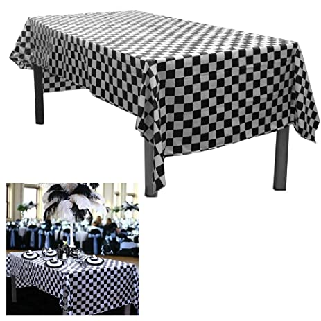 6 Black And White Checkered Plastic Tablecloths. Measures 54u0026quot; X  108u0026quot;. Disposable