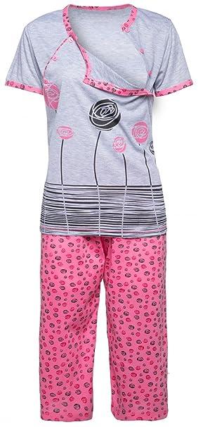 Mujer Pijama Premamá Camiseta Lactancia Pantalones Recortadas. 076p (Rosa Claro,