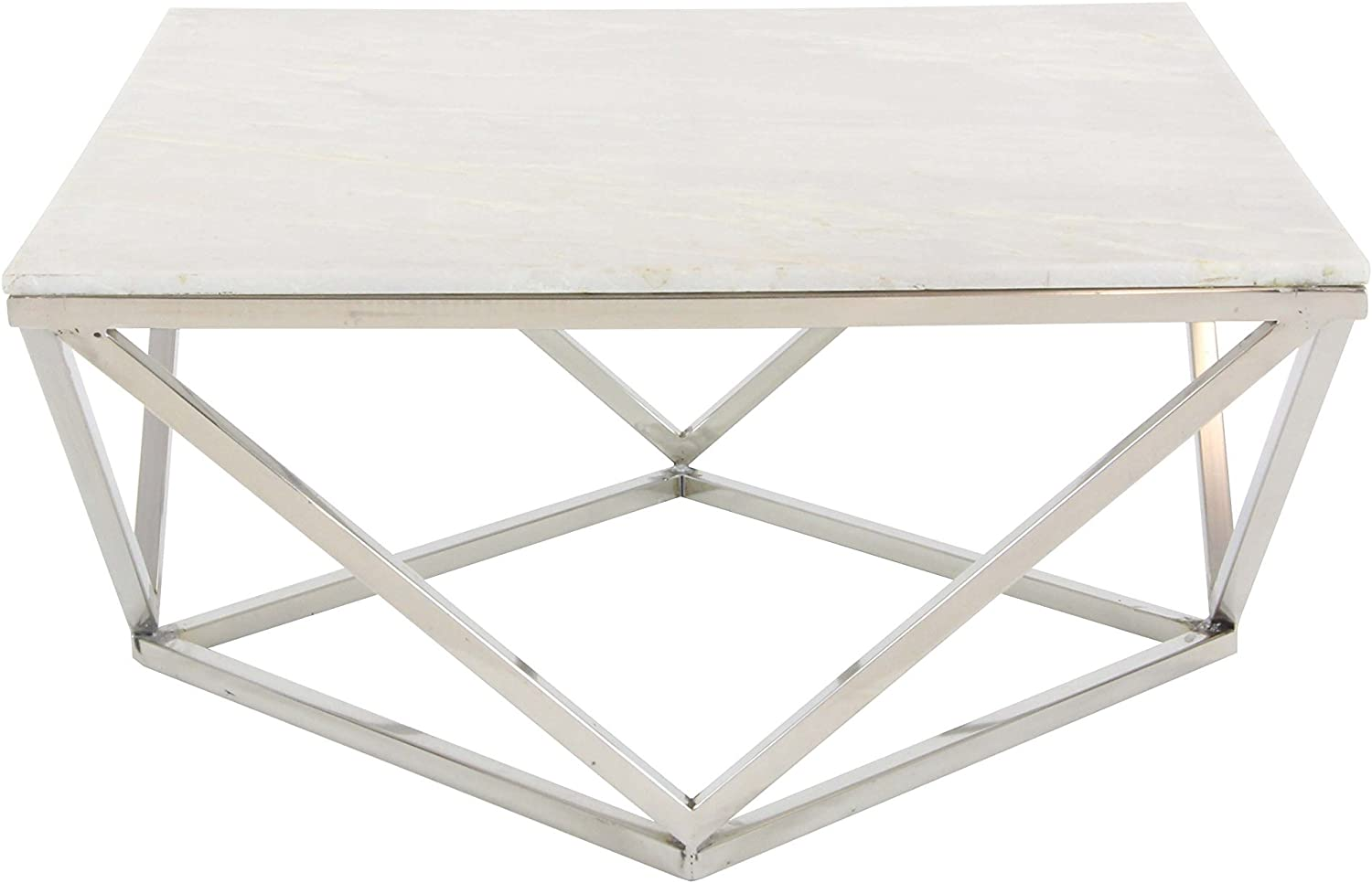 - Amazon.com: Deco 79 Square White Marble Coffee Table With Silver