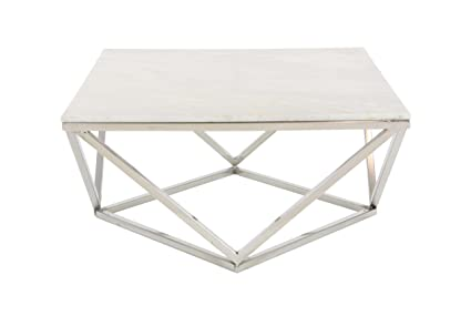 Amazoncom Deco 79 Square White Marble Coffee Table With Silver