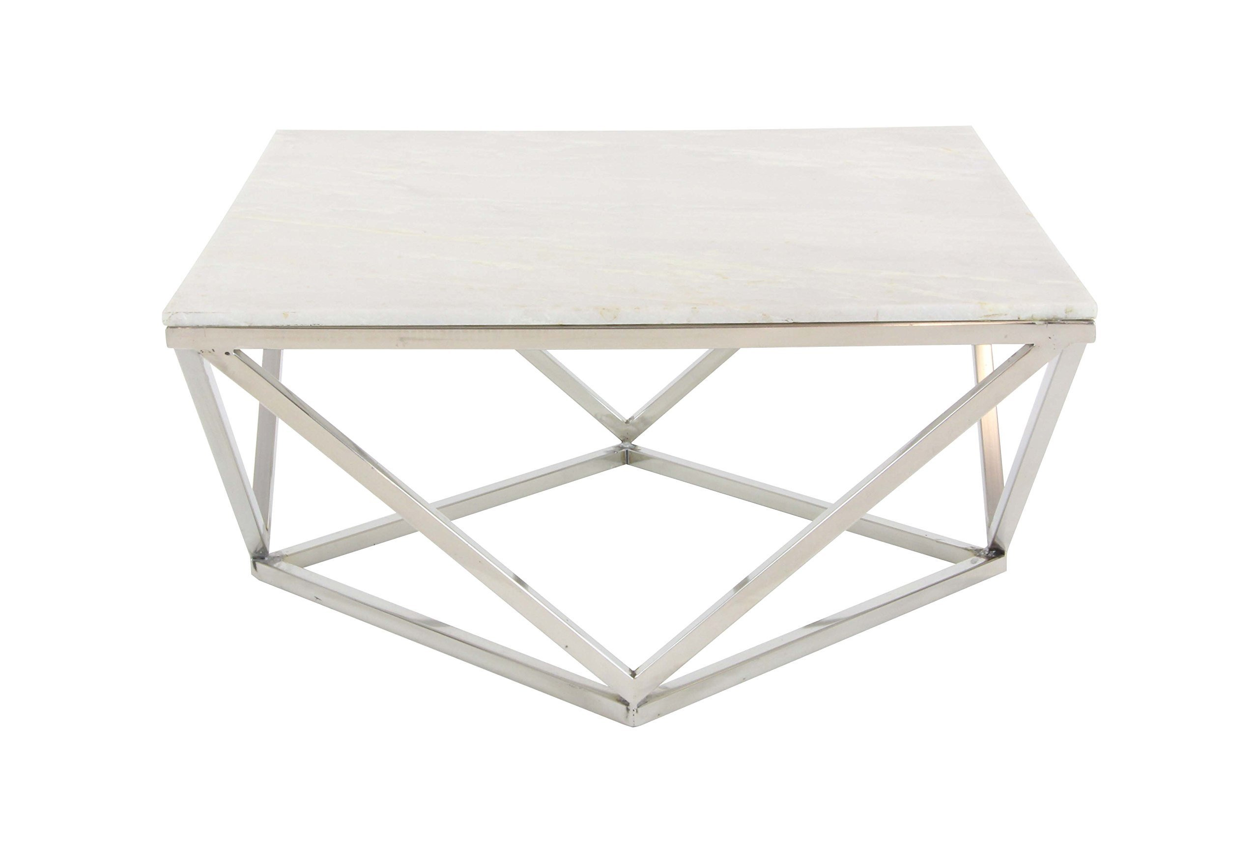"Deco 79 Square White Marble Coffee Table with Silver Stainless Steel Modern Geometric Base, 29"" - UNIQUE MODERN STYLE: White square marble coffee table with geometric base MARBLE & METALLICS: Solid white marble tabletop on a silver stainless steel base BOLD SILHOUETTE: Rich white marble with natural swirling dimension and texture cut into a square table top with a dimensional modern geometric base with a polished silver metal finish - living-room-furniture, living-room, coffee-tables - 712Ii9A71IL -"