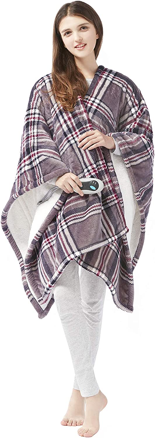 Beautyrest Ultra Soft Sherpa Berber Fleece Electric Poncho Wrap Blanket Heated Throw with Auto Shutoff