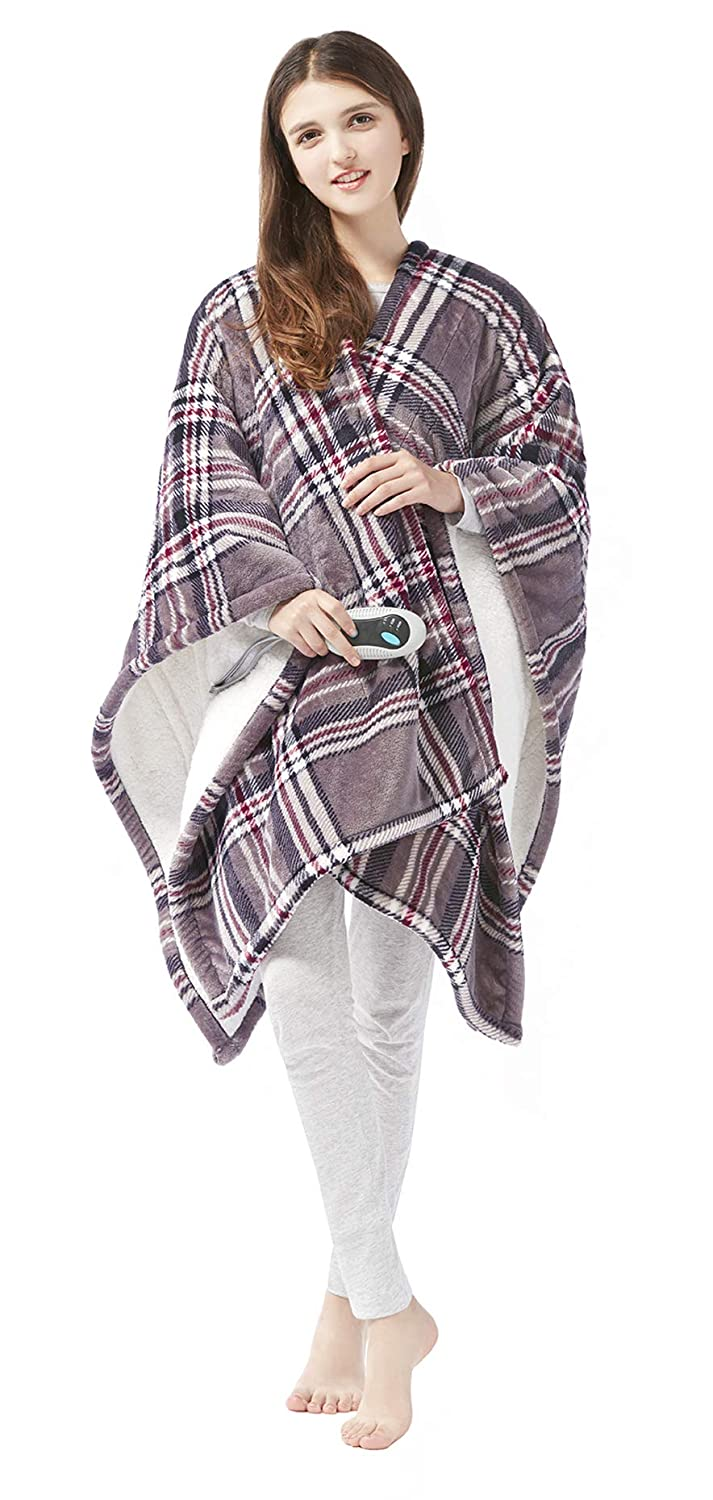 "Beautyrest Ultra Soft Sherpa Berber Fleece Electric Poncho Wrap Blanket Heated Throw with Auto Shutoff, 50"" W x 64"" L, Grey Plaid"