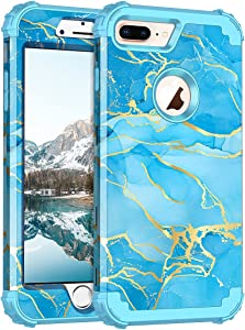Casetego for iPhone 8 Plus Case/iPhone 7 Plus Case,Heavy Duty Shockproof 3 Layer Hard PC+Soft Silicone Bumper Rugged Anti-Slip Protective Cases for Apple iPhone 8 Plus and iPhone 7 Plus,Blue Marble